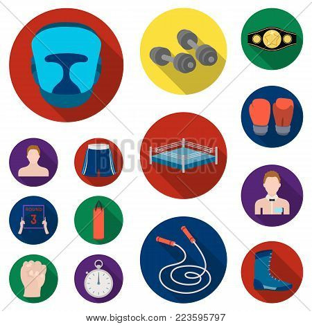 Boxing extreme sports flat icons in set collection for design. Boxer and attributes vector symbol stock  illustration.