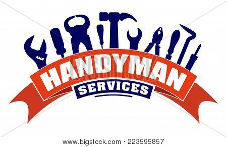 Handyman services vector design for your logo or emblem with  bend red banner and set of workers tools. There are wrench, screwdriver, hammer, pliers, soldering iron, scrap.