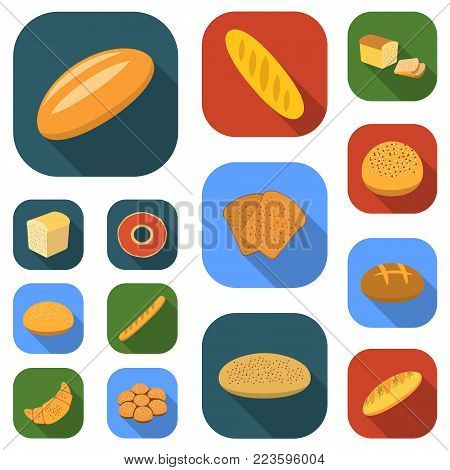 Types of bread flat icons in set collection for design. Bakery products vector symbol stock  illustration.