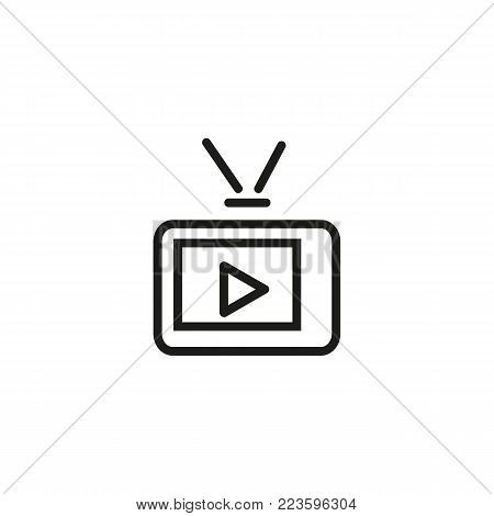Icon of TV with play sign on screen and antenna. Retro, television, symbol. Telecommunication concept. Can be used for topics like television, cinematography, media.