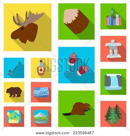 Country Canada flat icons in set collection for design. Canada and landmark vector symbol stock  illustration.