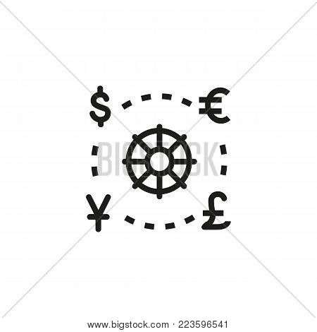 Icon of world currencies. Money, finance, symbols. Exchange concept. Can be used for topics like business, finance, economy.