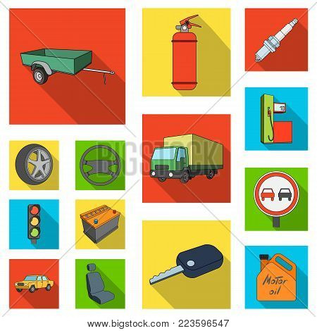 Car, vehicle flat icons in set collection for design. Car and equipment vector symbol stock  illustration.