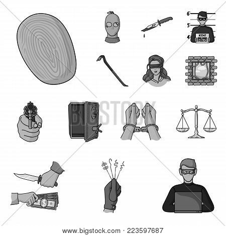 Crime and Punishment monochrome icons in set collection for design.Criminal vector symbol stock  illustration.