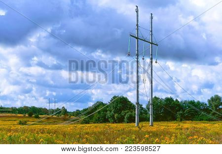 laying of power lines, poles and wires of the transmission line set