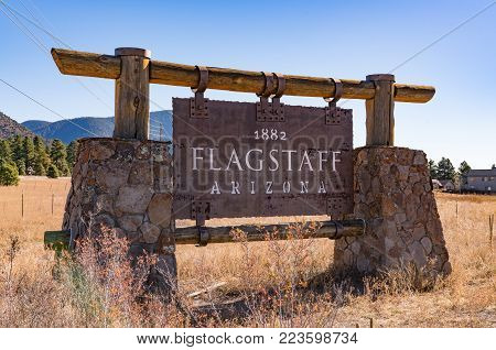 FLAGSTAFF, AZ - OCTOBER 24, 2017: Welcome sign on the outskirts of Flagstaff, Arizona