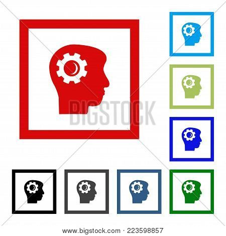 Soft Color Intellect Gears Interface Toolbar Pictogram. Vector Pictogram Style Is A Flat Symbol On C