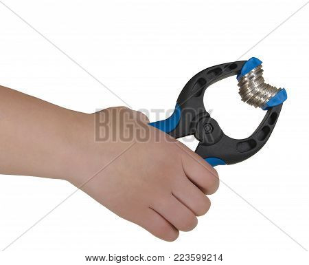 A hand holding blue clamp with coins at white background