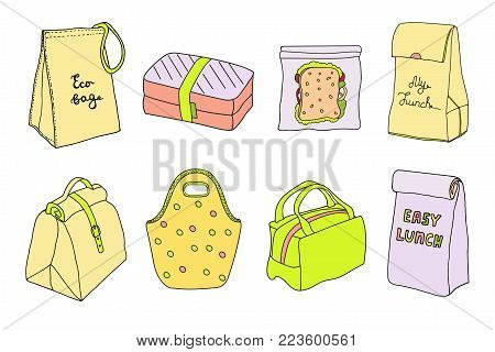 Lunch boxes and lunch bags set. Eco bag, sandwich box, easy lunch. Hand drawn artistic sketch illustration.