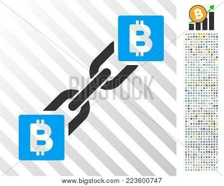 Bitcoin Blockchain pictograph with 7 hundred bonus bitcoin mining and blockchain symbols. Vector illustration style is flat iconic symbols designed for bitcoin websites.