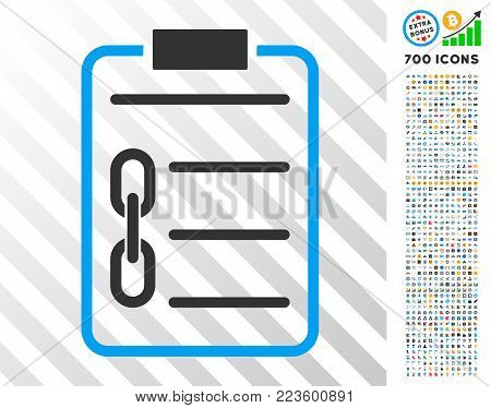 Blockchain Contract pictograph with 7 hundred bonus bitcoin mining and blockchain pictographs. Vector illustration style is flat iconic symbols designed for blockchain apps.