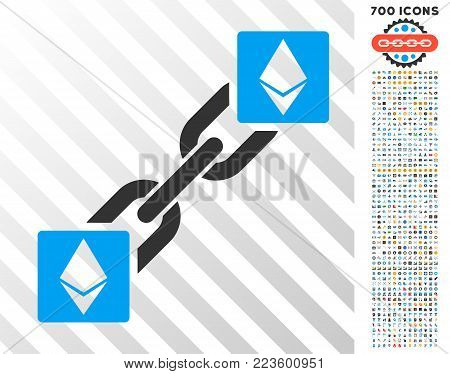 Ethereum Blockchain pictograph with 7 hundred bonus bitcoin mining and blockchain clip art. Vector illustration style is flat iconic symbols designed for crypto-currency apps.
