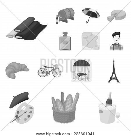 Country France monochrome icons in set collection for design. France and landmark vector symbol stock  illustration.