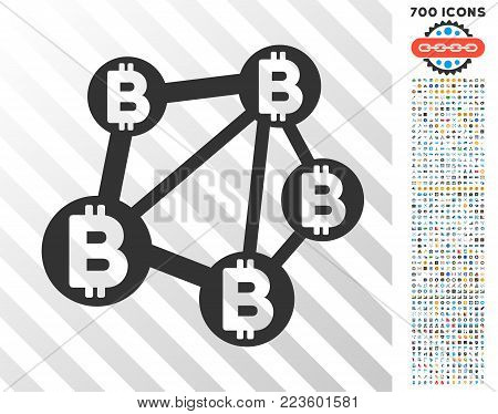 Bitcoin Network pictograph with 700 bonus bitcoin mining and blockchain images. Vector illustration style is flat iconic symbols designed for crypto-currency websites.