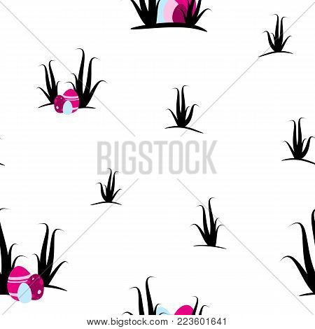 Easter seamless and tileable pattern design. Pink eastereggs ans shrubs on transparent background.