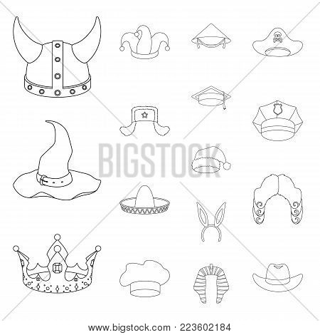 Different kinds of hats outline icons in set collection for design.Headdress vector symbol stock  illustration.