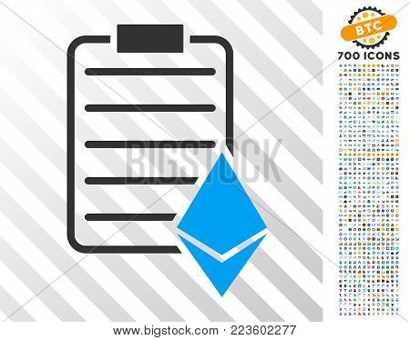 Ethereum Contract pictograph with 7 hundred bonus bitcoin mining and blockchain clip art. Vector illustration style is flat iconic symbols designed for crypto currency apps.