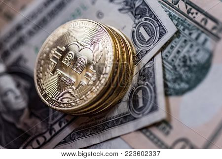 Bitcoin Virtual Currency. Trading with Bitcoin. The risk of buying a virtual currency. Crypto Currency background concept, various banknotes in the background