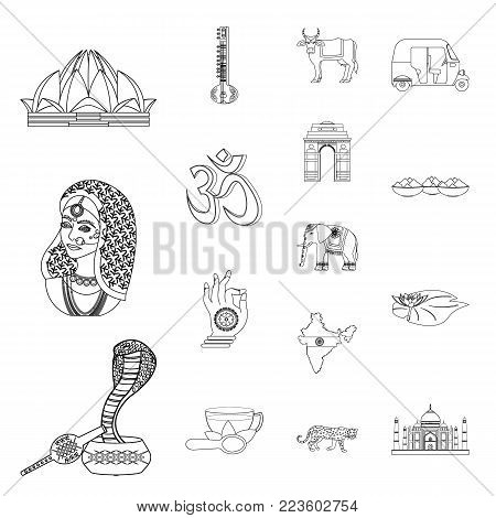 Country India outline icons in set collection for design.India and landmark vector symbol stock illustration.