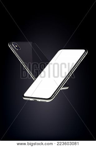 Similar to iPhone X black smartphones mockup soaring in the air on dark background. Smartphone front side with blank white screen and back side behind. High detailed realistic 3D illustration.