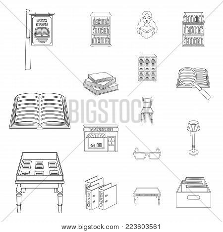 Library and bookstore outline icons in set collection for design. Books and furnishings vector symbol stock  illustration.
