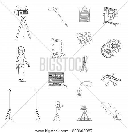 Making a movie outline icons in set collection for design. Attributes and Equipment vector symbol stock  illustration.