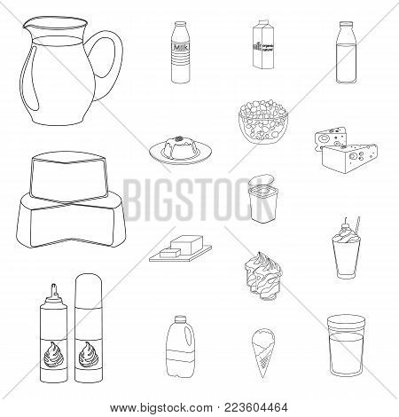 Milk product outline icons in set collection for design.Milk and food vector symbol stock  illustration.