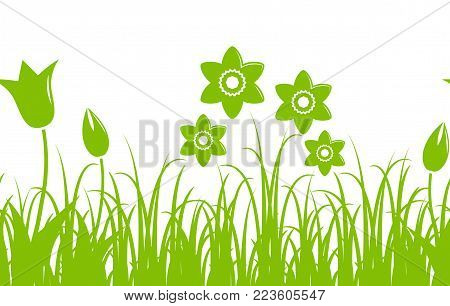 seamless vector border with daffodils and tulips in grass isolated on white background