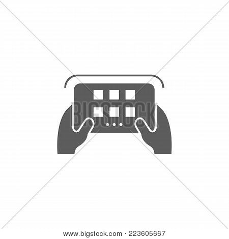 man controls the radio remote control icon. Elements of a controlled aircraft icon. Premium quality graphic design. Signs, outline symbols collection icon for websites, web design on white background