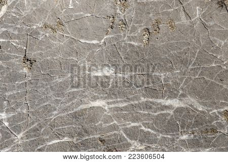 texture of grey stone white streaks, close-up shot of the stone close up, outdoor