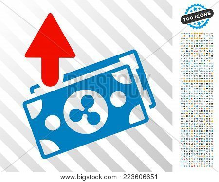 Ripple Expences Banknotes pictograph with 7 hundred bonus bitcoin mining and blockchain images. Vector illustration style is flat iconic symbols designed for bitcoin software.