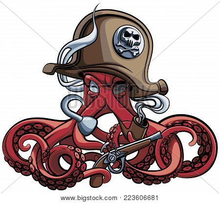 Vector colourful illustration of one-eyed octopus in the tricorn with pistol and tobacco pipe in his tentacles, isolated on white background. File doesn't contains gradients, blends, transparency and strokes or other special visual effects.