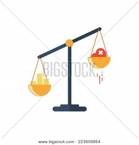 Scales with two bowls. On one side of the scale is money, on the second scale is red heart. Vector illustration Flat design.