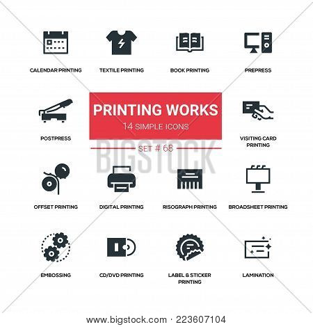 Printing works - line design silhouette icons set. High quality black pictogram. Book, prepress, postpress, calendar, textile, visiting card, offset, digital, risograph, broadsheet, embossing, cd, dvd