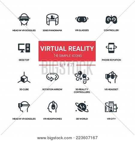 Virtual reality - line design silhouette icons set. High quality black pictogram. Vr glasses, controller, desktop, 3d60 panorama, phone rotation, 3d cube, arrow, headset, head in goggles, headphones, world, city