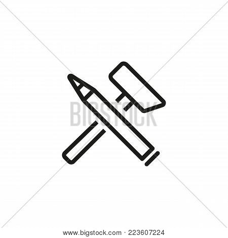 Icon of hammer and chisel. Tool, professional, art. Craft concept. Can be used for topics like education, equipment, sculpture.