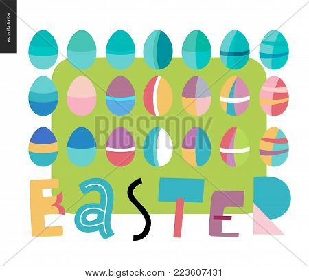 Set of painted eggs and Easter lettering on the green background