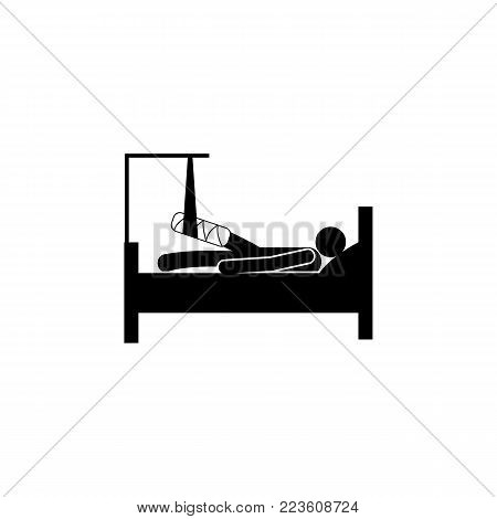 a man lying down with a bandaged leg icon. Elements of Patients in the hospital icon. Premium quality graphic design. Signs, outline symbols collection icon for websites on white background