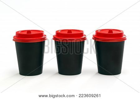 disposable tableware paper cup for drinks on a white background, recycled material, decomposing by nature, environmental protection