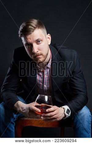 Male Alcoholism, Man With A Glass Of Alcohol In Hand. Disease Of Alcoholic Addiction, Bad Habit, Str