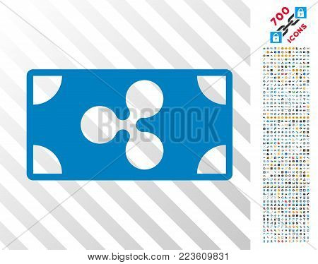 Ripple Banknote pictograph with 700 bonus bitcoin mining and blockchain pictographs. Vector illustration style is flat iconic symbols designed for bitcoin software.
