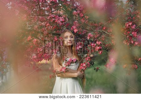 Young blonde woman standing in a blooming garden. Blooming cherry. Portrait of beautiful woman. Close up of woman face. Sakura blooming, spring evening time.