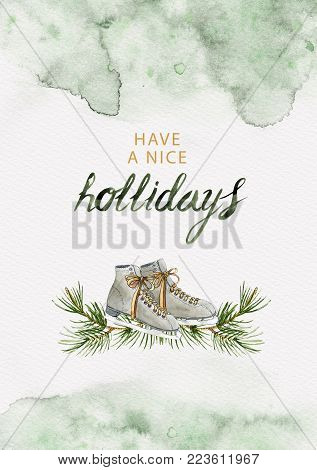Ice skates and pine branches holliday greeting card