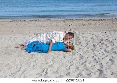 The Loving Couple On The Seashore, Cuba, Varadero