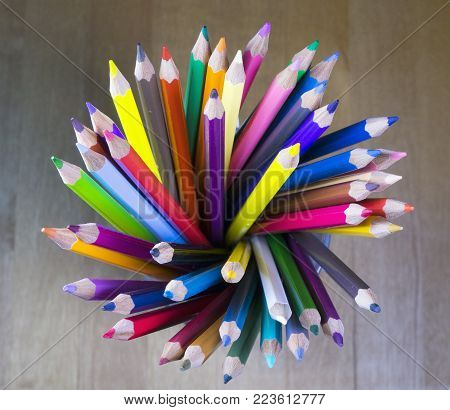 Color Pencils In A Glass, Top View