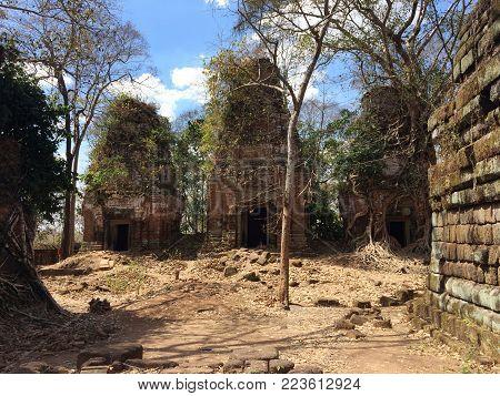 Koh Ker Temple Complex Ruin , Cambodia In Sunny Day