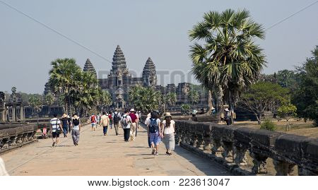 SIEM REAP, CAMBODIA - JANUARY 31, 2015: tourists in Angkor Wat Temple, Siem reap, Cambodia.