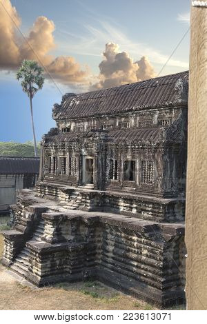 Angkor Wat Temple , Siem Reap , Cambodia  In Sunny Day