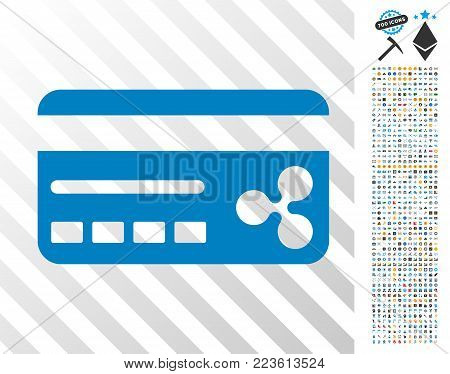 Ripple Banking Card pictograph with 700 bonus bitcoin mining and blockchain pictographs. Vector illustration style is flat iconic symbols designed for crypto currency software.