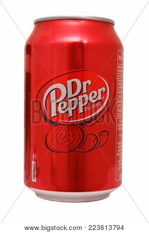 Timisoara, Romania - January 25 : A can of Dr Pepper drink isolated on white background. Studio shot taken on January 25th, 2018 in Timisoara, Romania